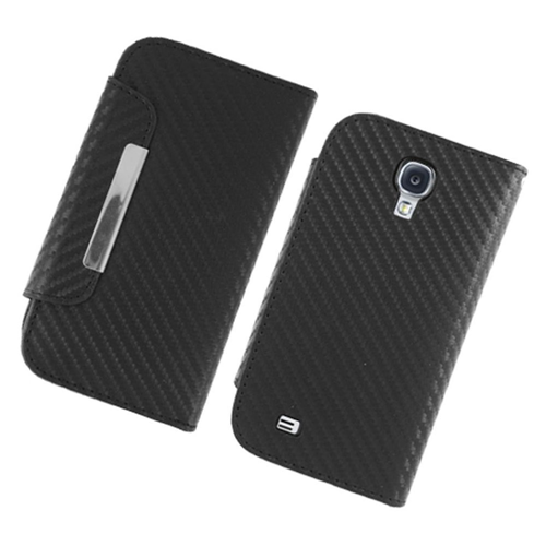 Insten Carbon Fiber Folio Leather Fabric Case w/stand/card holder For Samsung Galaxy S4, Black