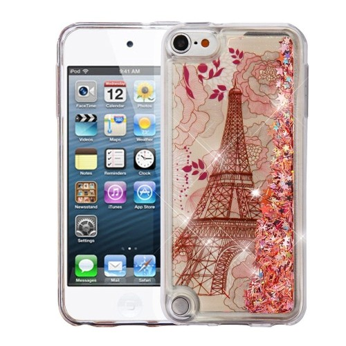 Insten Quicksand Glitter Eiffel Tower Hard TPU Case For Apple iPod Touch 5th Gen/6th Gen, Rose Gold