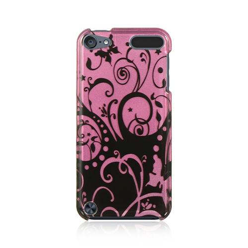 Insten Swirl Hard Plastic Cover Case For Apple iPod Touch 5th Gen/6th Gen, Black/Purple