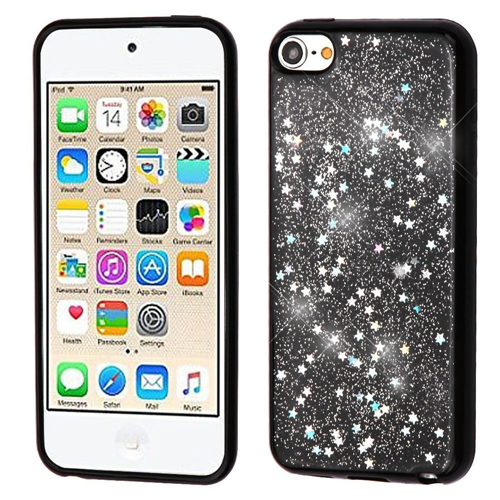 Insten Glitter Starry Sky Rubber Case For Apple iPod Touch 5th Gen/6th Gen, Silver