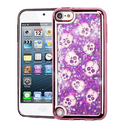 Insten Quicksand Glitter Skull Hard Hybrid Case For iPod Touch 5th Gen/6th Gen, Purple/Rose Gold
