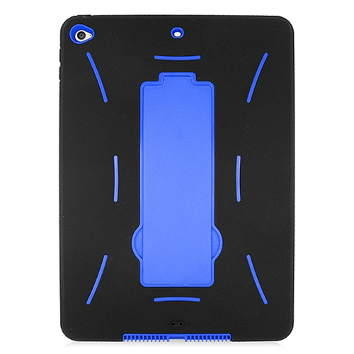 Insten Soft Dual Layer Rubber Hard Case w/stand For Apple iPad Air 2, Black/Blue