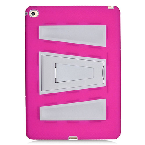 Insten Silicone Hybrid Rubber Hard Case w/stand For Apple iPad Air 2, Hot Pink/White