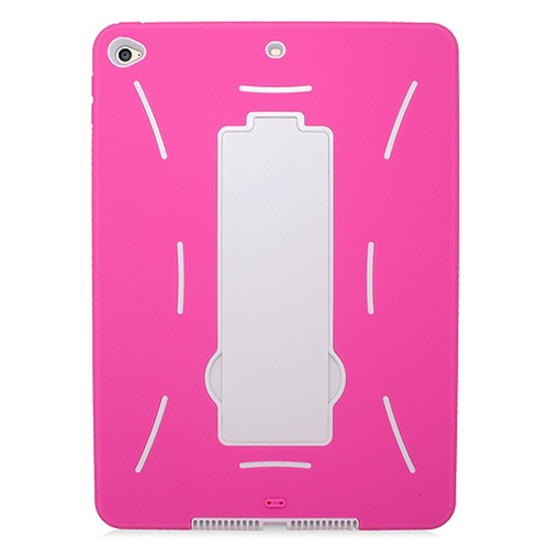 Insten Skin Dual Layer Rubber Hard Case w/stand For Apple iPad Air 2, Hot Pink/White