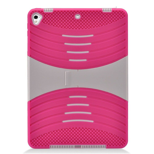 "Insten Silicone Dual Layer Rubberized Hard Case w/stand For Apple iPad 9.7"" (2017), Hot Pink/White"