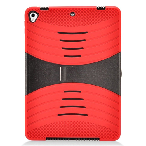 "Insten Skin Hybrid Rubberized Hard Cover Case w/stand For Apple iPad 9.7"" (2017), Red/Black"