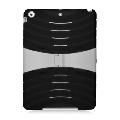 Insten Rubber Dual Layer Hard Case w/stand For Apple iPad Air, Black/White