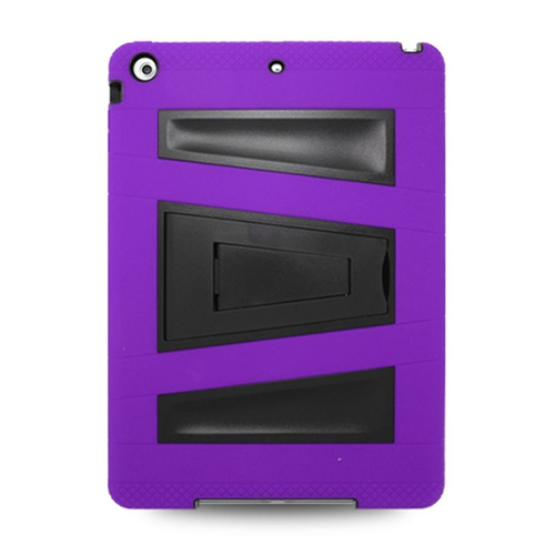Insten Skin Dual Layer Rubber Hard Case w/stand For Apple iPad Air, Purple/Black