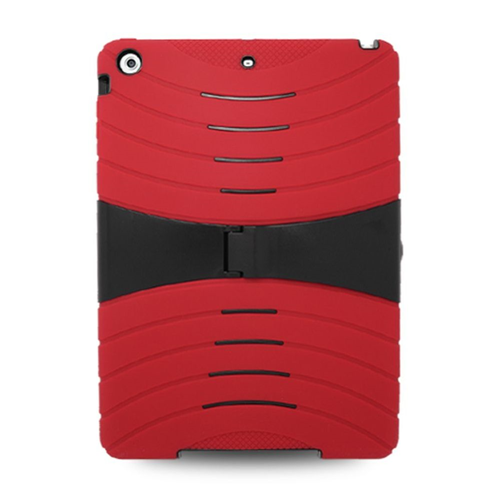 Insten Skin Hybrid Rubber Hard Case w/stand For Apple iPad Air, Red/Black