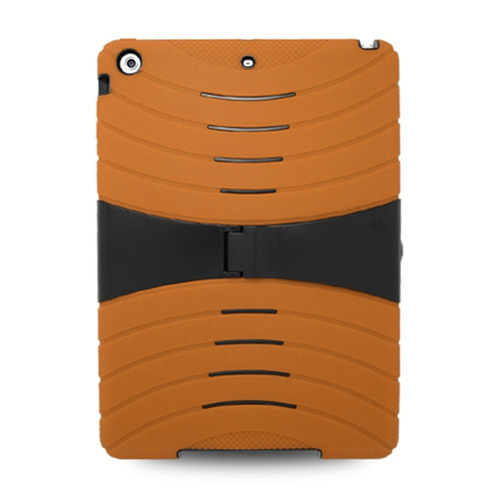 Insten Silicone Dual Layer Rubber Hard Cover Case w/stand For Apple iPad Air, Orange/Black
