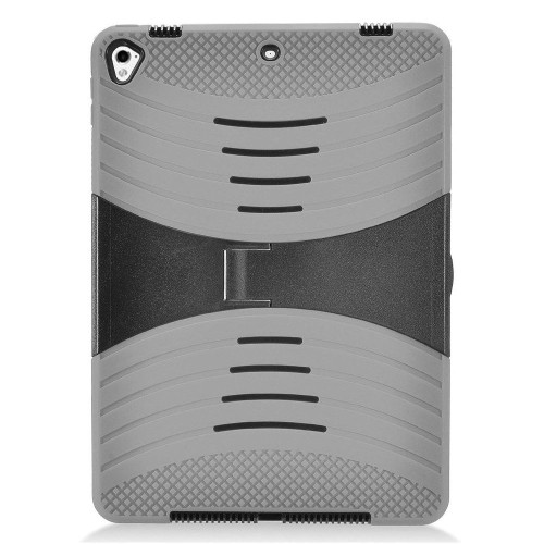 """Insten Soft Dual Layer Hard Case w/stand For Apple iPad 9.7"""" (2017), Gray/Black"""