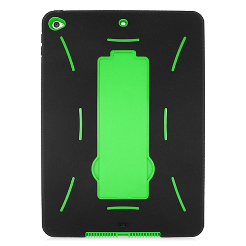 Insten Soft Dual Layer Rubber Hard Cover Case w/stand For Apple iPad Air 2, Black/Green