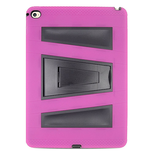 Insten Silicone Hybrid Rubber Hard Cover Case w/stand For Apple iPad Air 2, Hot Pink/Black