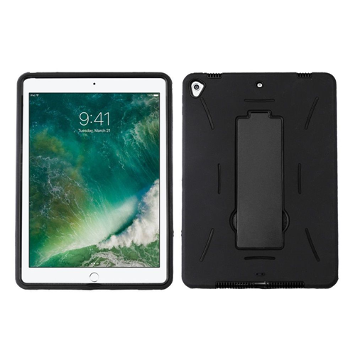 "Insten Symbiosis Hard Dual Layer Plastic TPU Case w/stand For Apple iPad 9.7"" (2017), Black"