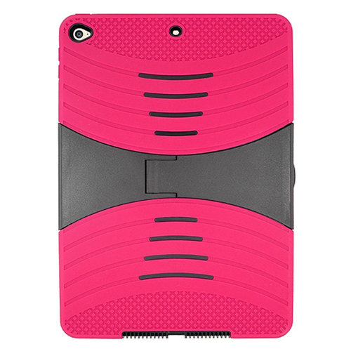 Insten Rubber Hybrid Hard Case w/stand For Apple iPad Air 2, Hot Pink/Black