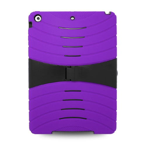 Insten Silicone Dual Layer Rubber Hard Cover Case w/stand For Apple iPad Air, Purple/Black