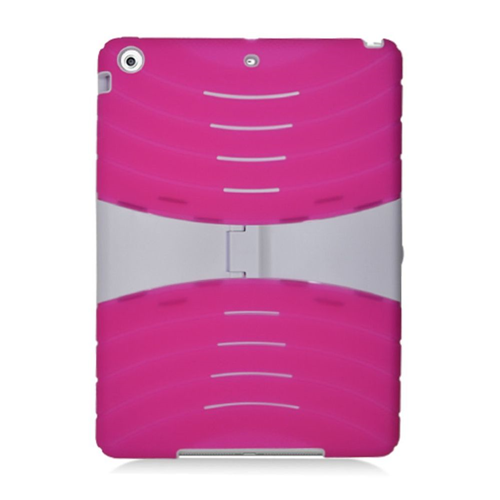 Insten Silicone Dual Layer Rubber Hard Cover Case w/stand For Apple iPad Air, Hot Pink/White