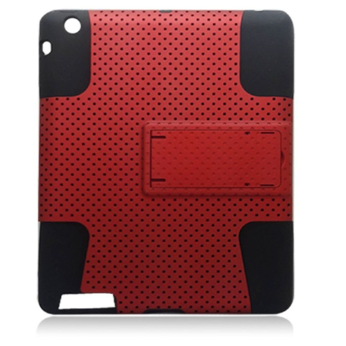 Insten Mesh Rubber Hybrid Hard Cover Case w/stand For Apple iPad 2/3/4, Red/Black