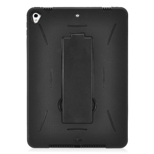 "Insten Silicone Dual Layer Rubber Hard Cover Case w/stand For Apple iPad 9.7"" (2017), Black"