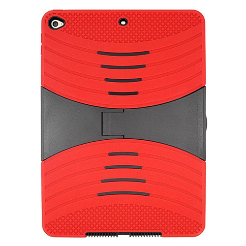 Insten Gel Dual Layer Rubber Hard Case w/stand For Apple iPad Air 2, Red/Black