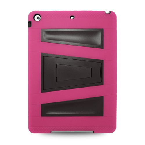 Insten Silicone Hybrid Rubber Hard Case w/stand For Apple iPad Air, Hot Pink/Black