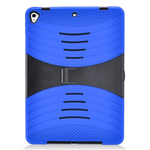 "Insten Rubber Dual Layer Rubberized Hard Case w/stand For Apple iPad 9.7"" (2017), Blue/Black"