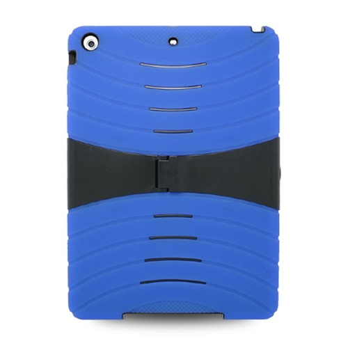 Insten Soft Hybrid Rubber Hard Case w/stand For Apple iPad Air, Blue/Black