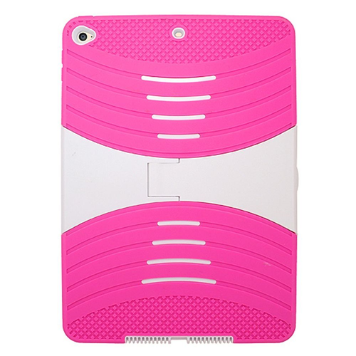 Insten Gel Hybrid Rubber Hard Cover Case w/stand For Apple iPad Air 2, Hot Pink/White