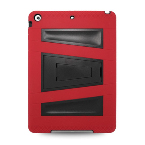 Insten Silicone Dual Layer Rubber Hard Case w/stand For Apple iPad Air, Red/Black