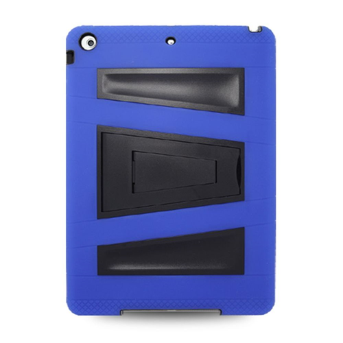 Insten Silicone Dual Layer Rubber Hard Case w/stand For Apple iPad Air, Blue/Black