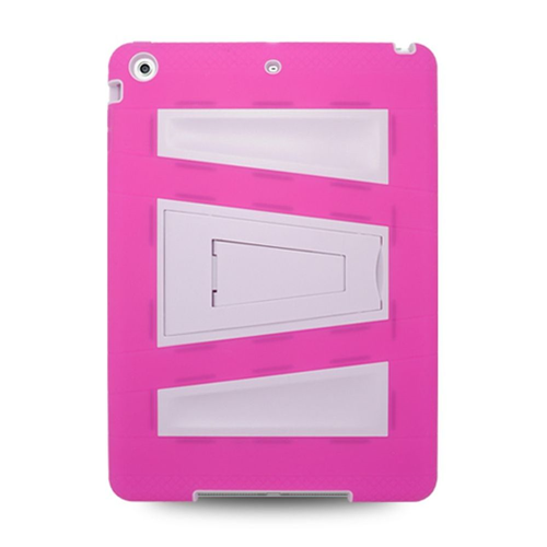 Insten Rubber Hybrid Hard Case w/stand For Apple iPad Air, Hot Pink/White