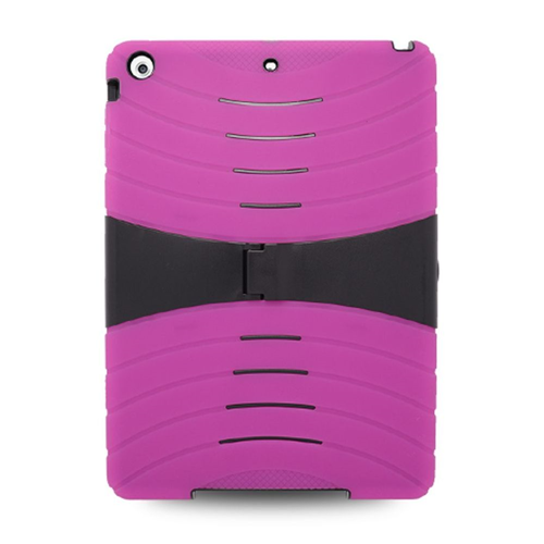 Insten Skin Hybrid Rubber Hard Case w/stand For Apple iPad Air, Hot Pink/Black