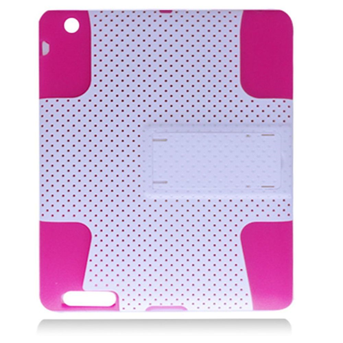 Insten Mesh Soft Hybrid Rubber Hard Cover Case w/stand For Apple iPad 2/3/4, White/Hot Pink
