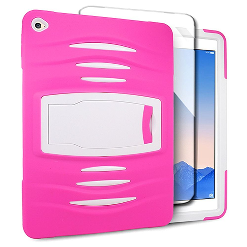 Insten Gel Dual Layer Rubber Hard Cover Case w/stand For Apple iPad Air 2, Hot Pink/White