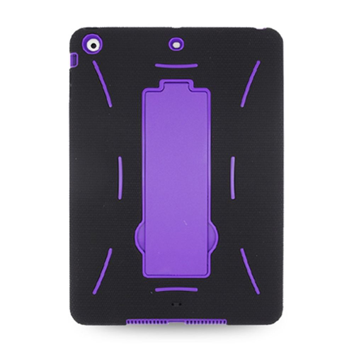 Insten Soft Dual Layer Rubber Hard Case w/stand For Apple iPad Air, Black/Purple