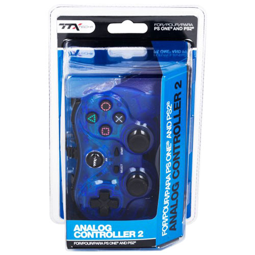 TTX Tech Analog Controller 2 for PS1/PS2 - Clear Blue