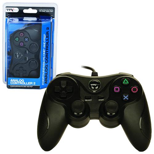 Manette analogique 2 de TTX Tech pour PS1/PS2 - Noir