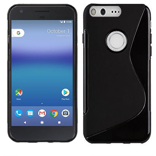 Google Pixel XL 5.5 Soft Gel S-line TPU Rubber Stylish Case - Black