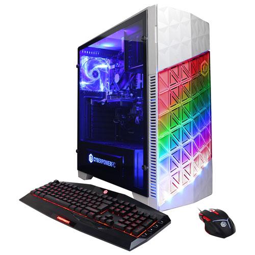 Ordi Gamer Master de CyberPowerPC - Blanc (Ryzen 5 1400 AMD/DD 2 To/RAM 16 Go/RX 580 AMD/Windows 10)