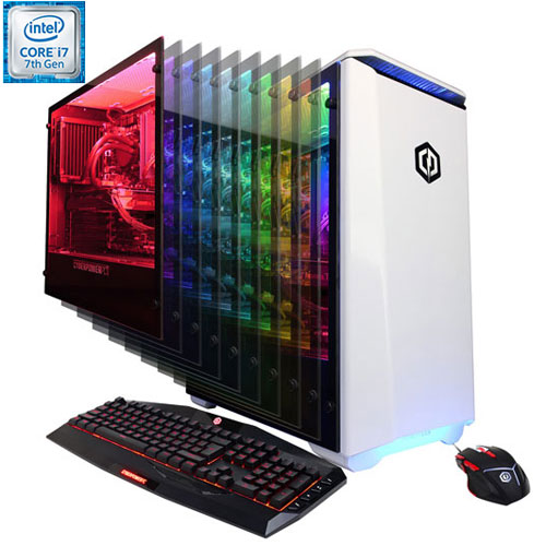 Gamer Xtreme blanc de CyberPowerPC (Core i7-7700K d'Intel/DD 1 To/RAM 8 Go/RX 580 d'AMD/Windows 10)