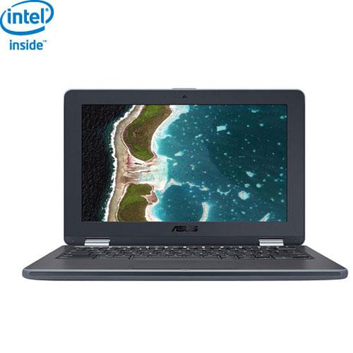 Chromebook Flip C213 11,6 po d'ASUS - Gris foncé (Celeron N3350 bicoeur d'Intel/eMMC 32 Go/RAM 4 Go)
