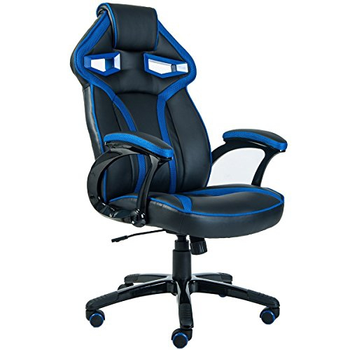 ViscoLogic Series APOLLO Gaming Racing Style Swivel Office Chair (Black Blue)