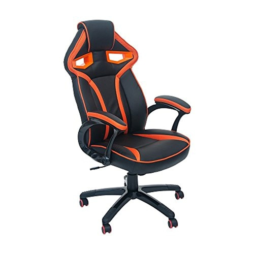 【ViscoLogic】 LANCER Home Office Gaming Chair with Retractable Arms (Black & Orange)