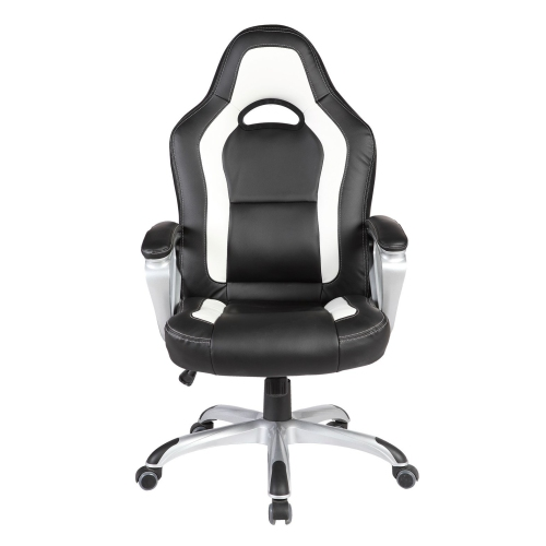 ViscoLogic Series VIOS Gaming Racing Style Swivel Office Chair YS-8702 BW (Black & White)