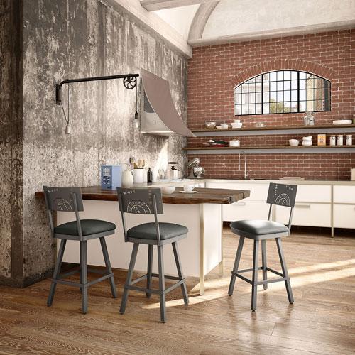 tabouret de bar contemporain hauteur de comptoir wilson gris fonc gris moyen tabourets. Black Bedroom Furniture Sets. Home Design Ideas