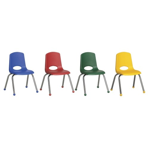"""ECR4Kids 10"""" Preschool Stack Chair with Chrome Legs Ball Glide - Assorted 6 Pack"""