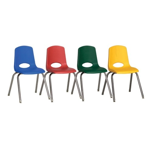 "ECR4Kids 10"" Stack Chair-Chrome Legs with Glide-6pc-Assorted"