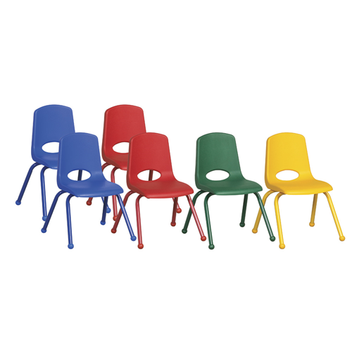 """ECR4Kids 16"""" Stack Chair-Matching Legs-6pc-Assorted"""