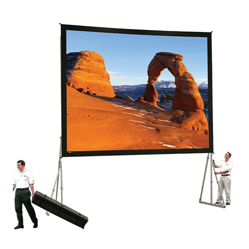 "High Contrast Da-Tex Rear Projection Heavy Duty Fast-Fold Deluxe Complete Screen System 11'6"" x 15' Area 10'6"" x 14'"