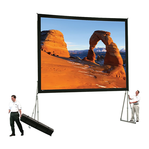 Dual Vision Front and Rear Projection Heavy Duty Fast-Fold Deluxe Complete Screen System 13' x 13' Area 12' x 12'